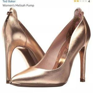 New TED BAKER Melisah Rose gold Leather heel SZ 7